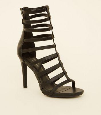 Black Gladiator Ankle Stiletto Heels