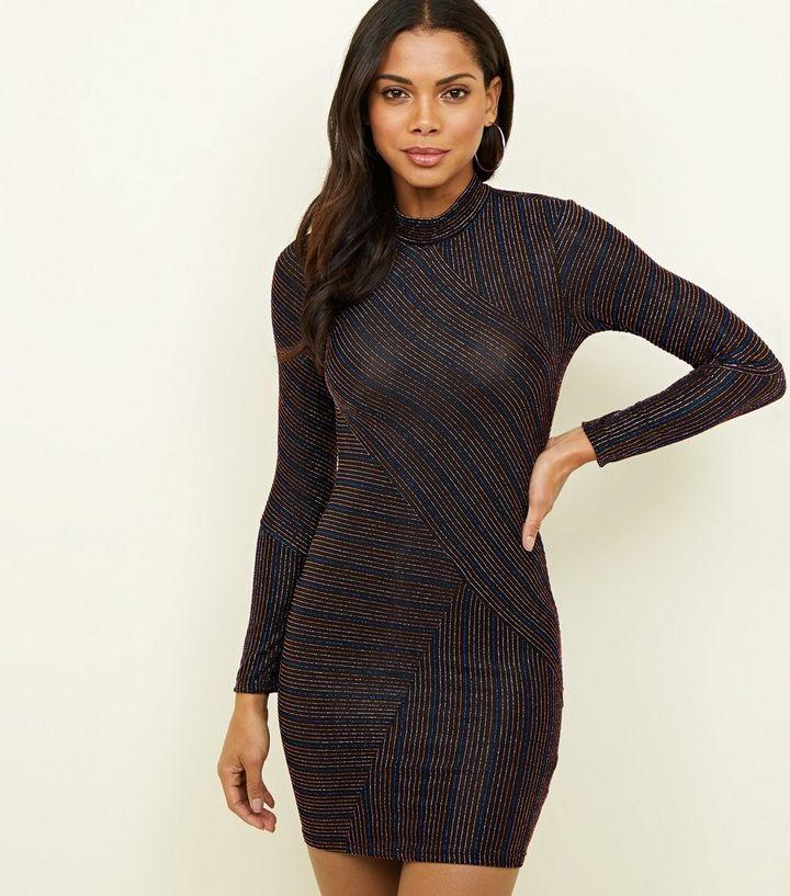 26a2e435522 Black Asymmetric Glitter Stripe Bodycon Dress