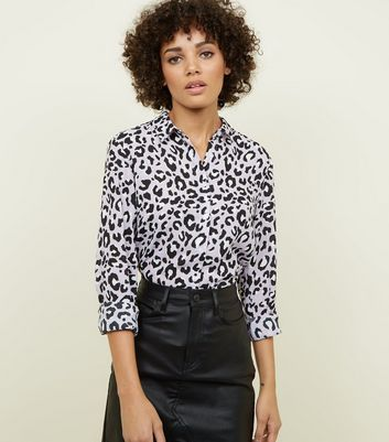 Purple Leopard Print Long Sleeve Shirt