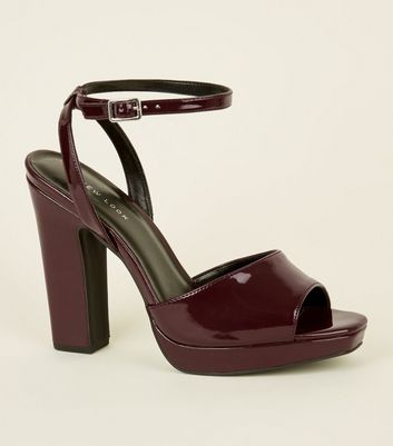 Dark Red Patent Platform Square Toe Heels
