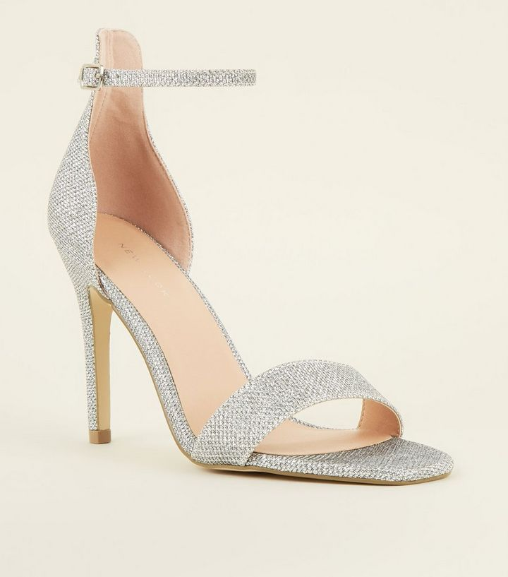 7066bac70f3 Silver Glitter Ankle Strap Stiletto Sandals