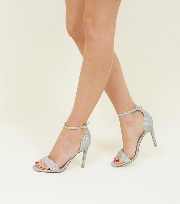 a1cf49c60cc ... Silver Glitter Ankle Strap Stiletto Sandals. ×. ×. ×. Shop the look