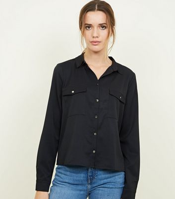 Black Twill Long Sleeve Utility Shirt