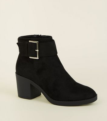 Girls Black Suedette Chunky Buckle Ankle Boots