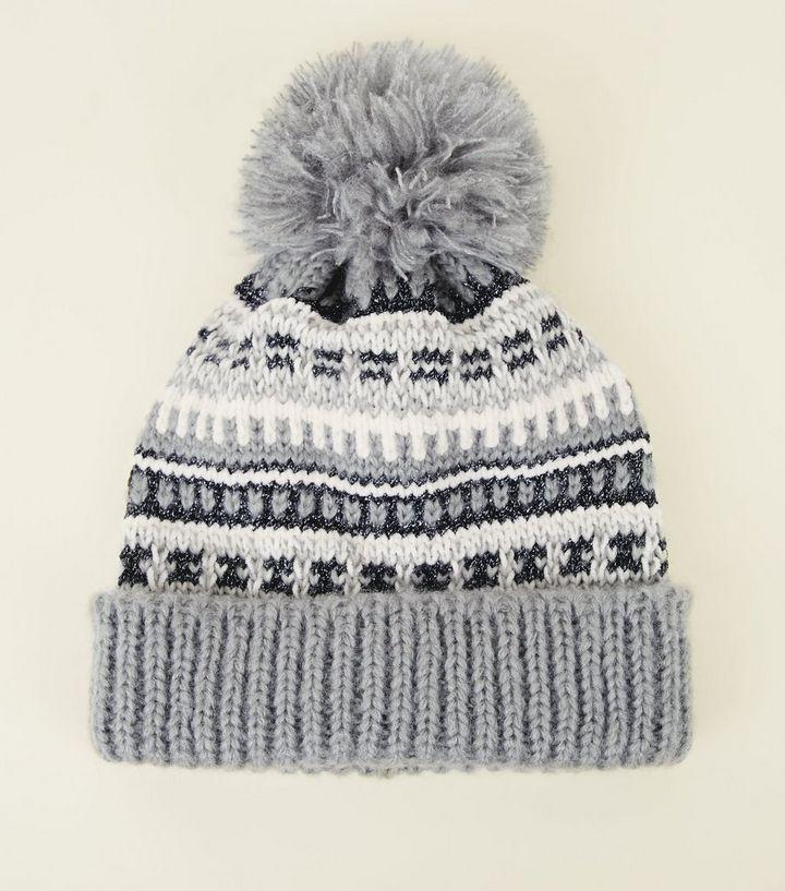 485614a7181 Grey Fairisle Knit Pom Pom Bobble Hat