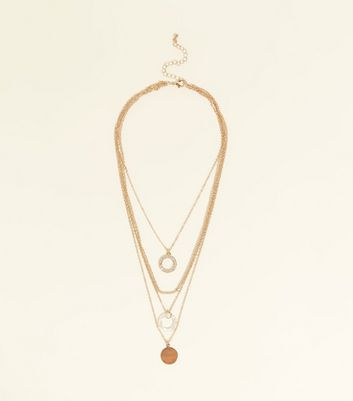 Gold Chain Layered Circle Pendant Necklace
