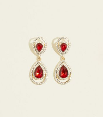 Red Gem and Diamanté Teardrop Earrings