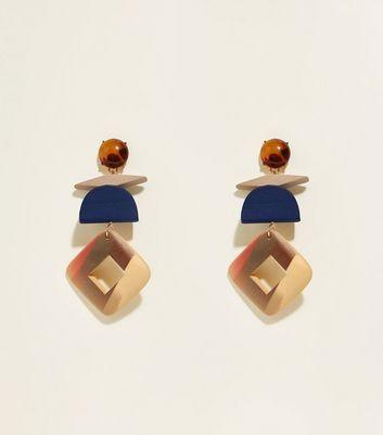 Brown Resin And Wood Drop Earrings by New Look