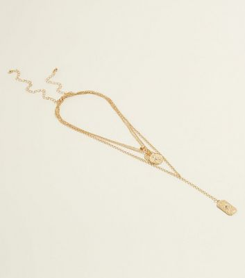 Gold  Layered Embossed Charm Necklace
