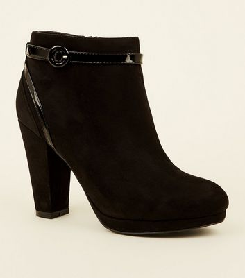 Black Comfort Suedette Patent Trim Heeled Ankle Boots