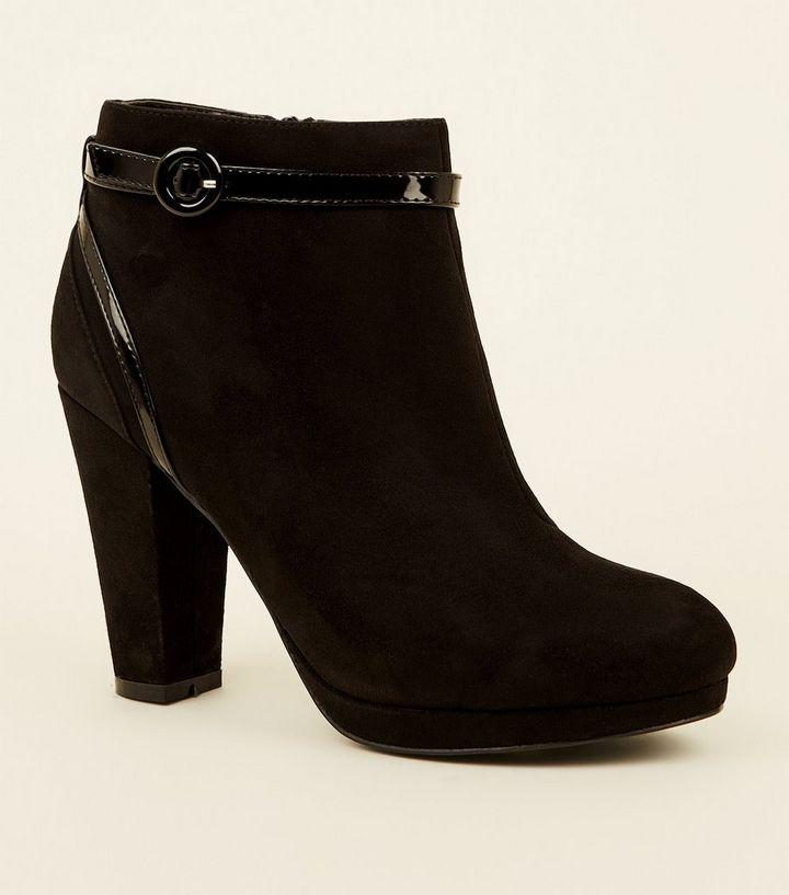 6515b2ec0dde Comfort – Schwarze Ankle Boots in Wildleder-Optik mit Lackdetails ...