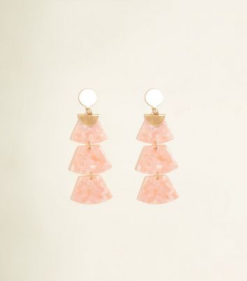 Pale Pink Drop Trapezium Resin Earrings