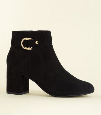 Black Comfort Flex Suedette Ring Side Ankle Boots by New Look