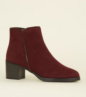 Burgundy Comfort Suedette Patent Trim Ankle Boots