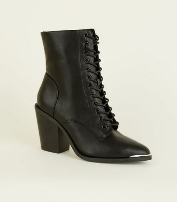 Black Leather Look Lace Up Ankle Boots by New Look