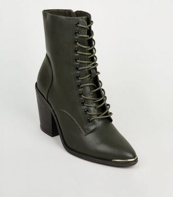 Khaki Lace-Up Heeled Ankle Boots