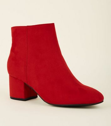 Girls Red Suedette Mid Heel Ankle Boots