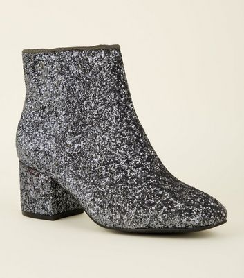 Girls Pewter Glitter Mid Block Heel Ankle Boots