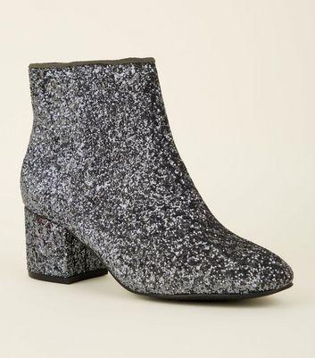 Girls Pewter Glitter Mid Block Heel