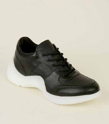 Black Panelled Curved Sole Chunky Trainers