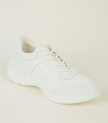 White Panelled Curved Sole Chunky Trainers