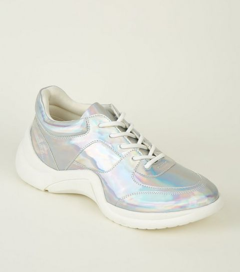 1f346043e824 ... Silver Holographic Curved Sole Chunky Trainers ...