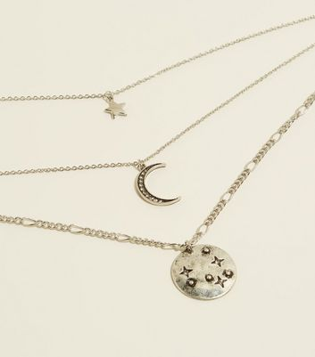 Silver Moon and Star Layered Pendant Necklace