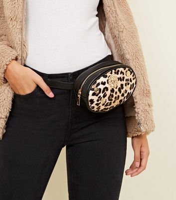 Brown Leopard Print Lion Face Bum Bag