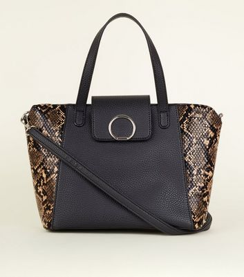 Black Faux Snakeskin Panel Mini Tote Bag