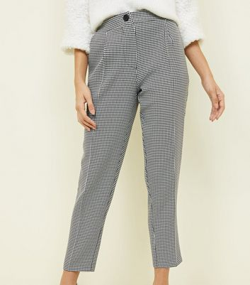 Black Houndstooth Check Pull On Trousers New Look