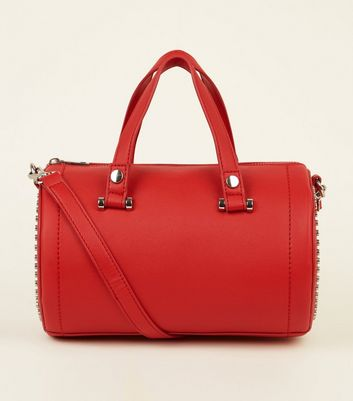 Red Bowler Studded Barrel Bag