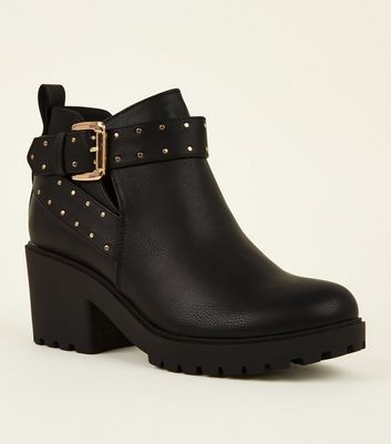 Girls Black Stud Strap Chunky Heeled Boots