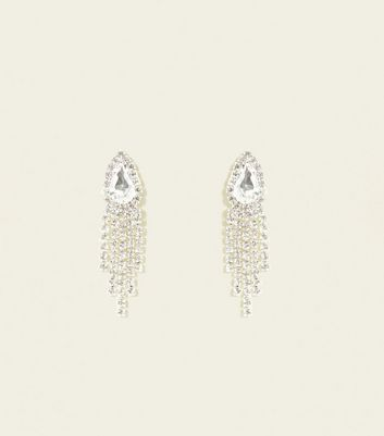 Silver Premium Diamanté Peacock Tail Earrings