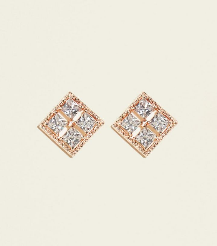 Rose Gold Cubic Zirconia Square Stud Earrings Add To Saved Items Remove From