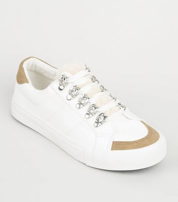 Girls White Faux Fur Panel Lace Up Trainers