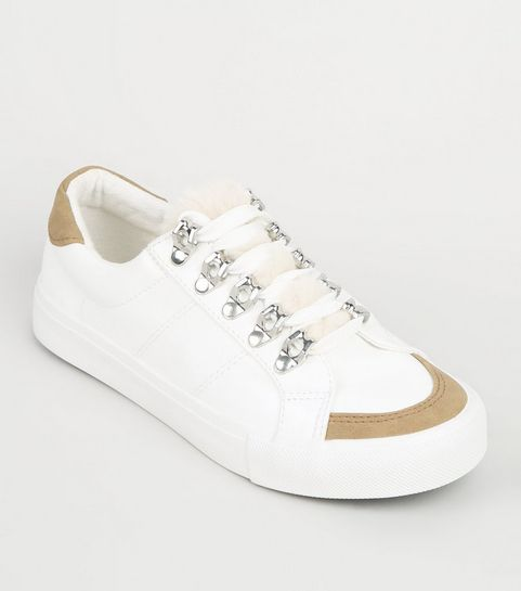 78abf24f3e53 ... Girls White Faux Fur Panel Lace Up Trainers ...
