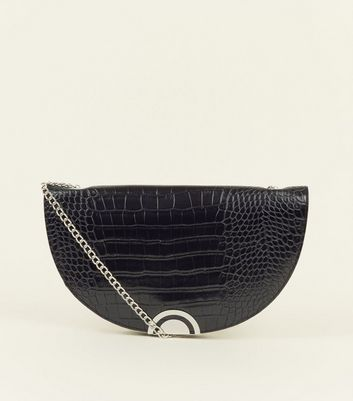 Black Faux Croc Curved Clutch Bag
