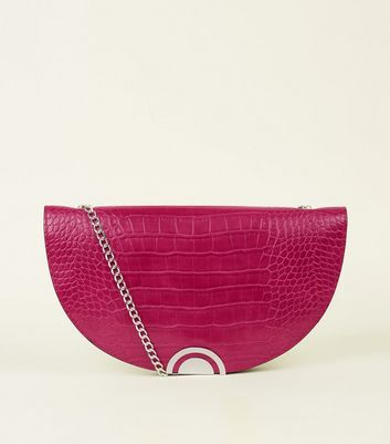 Bright Pink Faux Croc Half Moon Shoulder Bag