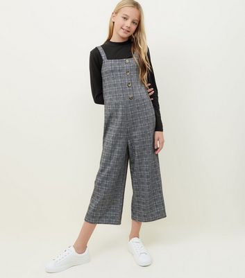 Girls Grey Check Button Front Jumpsuit