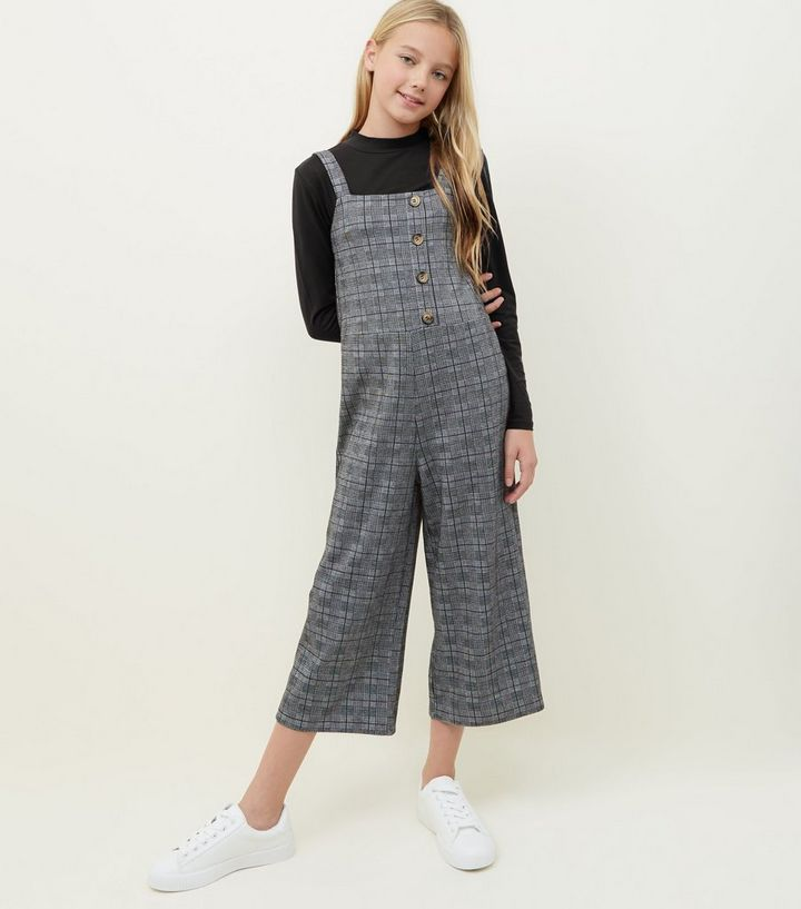 bf59440053b Girls Grey Check Button Front Jumpsuit
