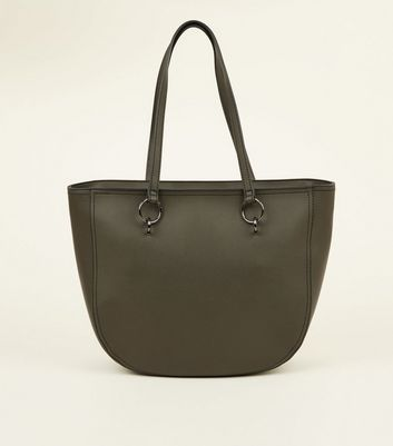 Khaki Curved Tote Bag