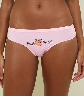 Pink Peach Embroidered Bikini Briefs