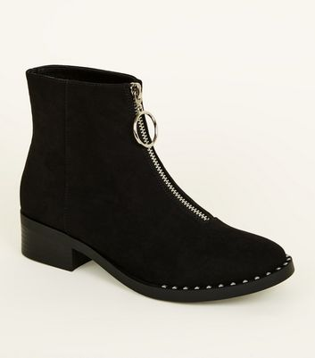Girls Black Zip Front Suedette Stud Rim Ankle Boots