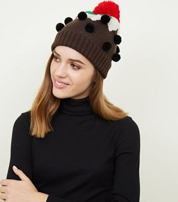 Brown Christmas Pudding Bobble Hat