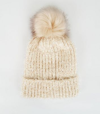 Cream Chenille Tinsel Faux Fur Bobble Hat