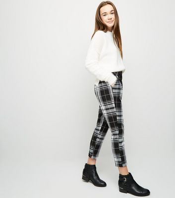 Girls Black Check Double Button Front Trousers