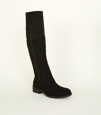 Girls Black Suedette Stud Scallop High Boots