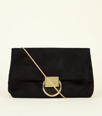 Black Suedette Ring Front Shoulder Bag