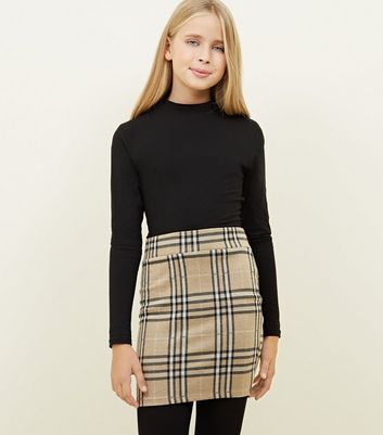 Girls Camel Check Skirt