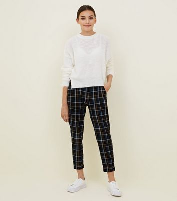 Girls Black Check Pull On Trousers